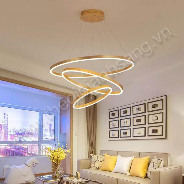 Đèn thả LED 3 chế độ màu 3 vòng viền vàng Ø800mm PH8-TH822