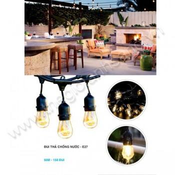 Dây thả ngoài trời chống nước 50m - 150 đui đèn E27