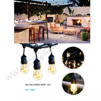 Dây thả ngoài trời chống nước 5m - 15 đui đèn E27