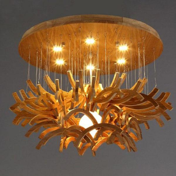 Trang trí không gian thêm sang trọng bằng đèn chùm bằng gỗ đẹp
